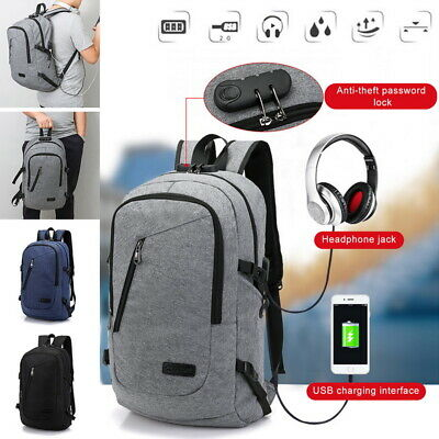 18 inch Anti-theft Laptop Backpack With USB Charger Port Travel Business Bag