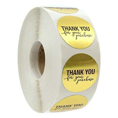 "500Pcs 1"" Thank you Sticker Adhesive Labels Roll Round Package Tags Kraft Decor"