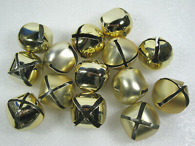 Lot of 14 Gold 45mm Jingle Bells Christmas & Crafts 2""