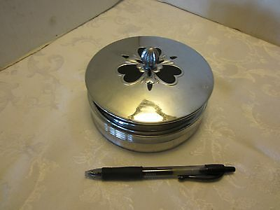 "ART DECO 1930's CHASE Black ENAMEL CHROME GLASS POWDER VANITY BOX Vintage 5¼"" W"