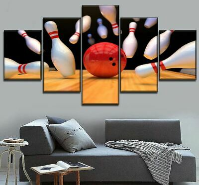 Bowling Ball & Pin Strike 5 panel canvas Wall Art Home Decor Print Poster