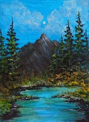 Mountains Landscape Art - Original 100% Hand Painted Aceo Acrylic Signed Art