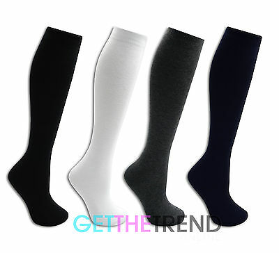 Girls Knee High Socks 3 Pack Kids Long Cotton School Socks Plain Black White