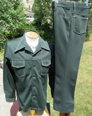 Vintage TIME OUT by FARAH Leisure Suit MED 32x30- Low Rise Poly Trucker Unit