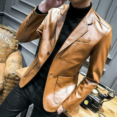Cool Men's New Casual Suit PU Leather Casual Blazer Jacket Slim Fit Lapel Coats
