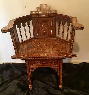 Antique Handmade Syrian Mosaic Wood Inlay Chair With Mother Of Pearl Accents