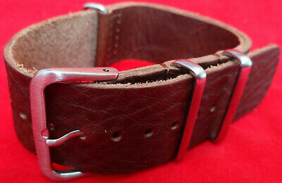 New Mens Easy ONE PIECE 22mm REGULAR TO EXTRA LONG Watch Band Brown Leather