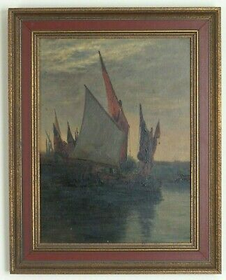 Antique Original Oil Painting on Board Sail Boat Harbor Night Scene 13x16.5 OLD