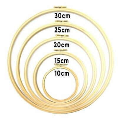 Wooden Bamboo Embroidery Cross Stitch Tapestry Ring Hoop Round Frame 10-30CM
