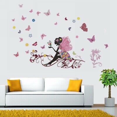 DIY Fairy Flower Butterfly Wall Sticker Decal Nursery Kid Baby Girl Room Decor