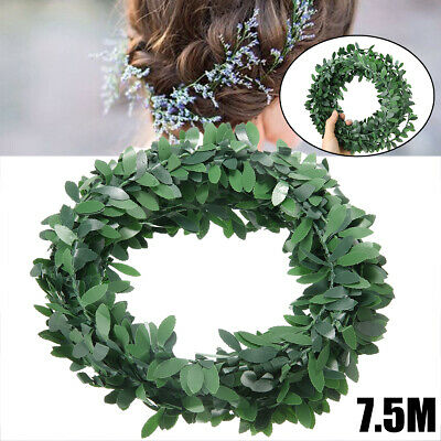 7.5m Ivy Leaf Garland Green Plant Plastic Vine Foliage Plastic with Iron Wire UK