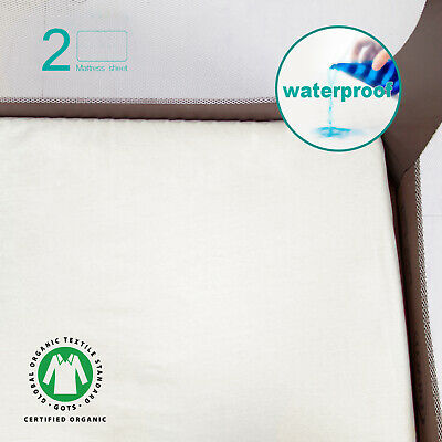"Waterproof Pack N Play/Mini Crib Mattress Sheets Organic Cotton 2 Pack 39""x27"""