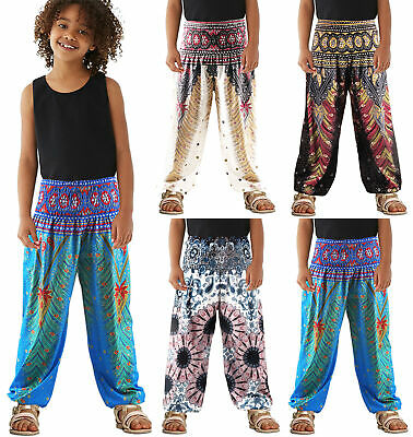 Kids Girls Boys Harem Pants Baggy Hippie Bohemian Boho Yoga Aladdin Trousers