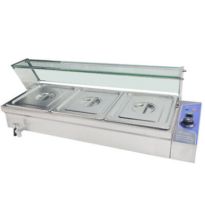 Bain Marie 3X1/2GN Tray Food Warmer Glass Cover Stainless Steel Buffet Display