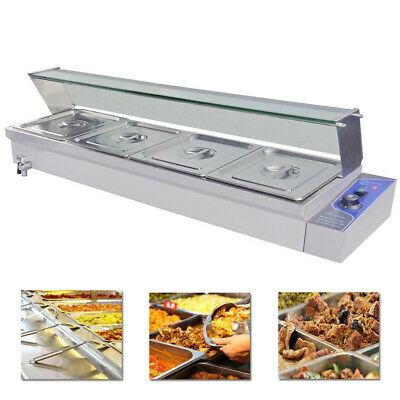 Commercial Bain Marie 4 X 1/2GN Tray Glass Cover Stainless Steel Hot Food Warmer
