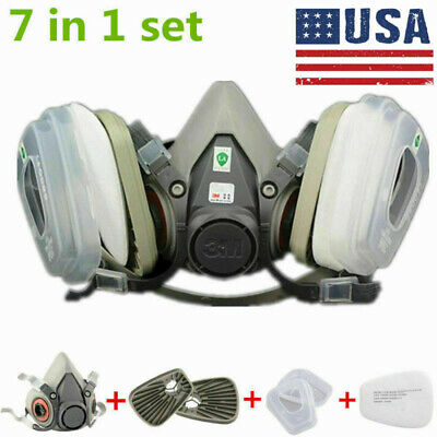 7in1 Half Face Mask Facepiece Set For 3M 6200 Gas Painting Spray Dust Protection