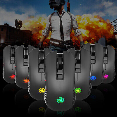 2.4GHz LED Laser USB Wireless 3600DPI 7 Colors RGB Optical Game Gaming Mouse UK