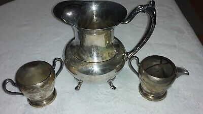Antique Silver Water Pitcher With Silver On Copper Cups