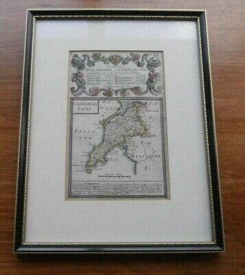1720 Bowen Antique Map Caernarvonshire Road Map Hand Coloured Welshpool Anglesey