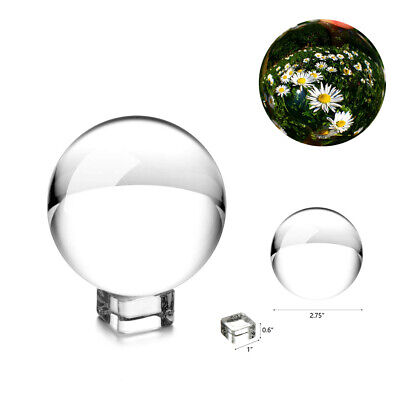 Clear Crystal K9 50-80mm Paper Photography Lens Ball Photo Prop Decor + Holder