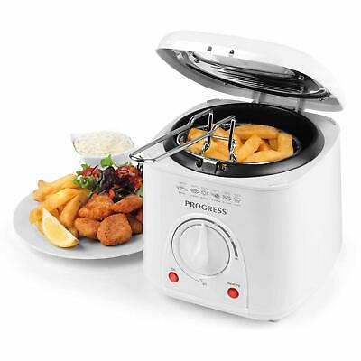 Progress 1L Compact 950W White Deep Fat Fryer with Removeable Basket Easy Clean