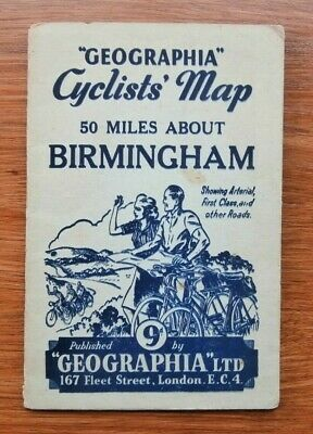 Vintage Geographia Cyclists Map of 50 Miles About Birmingham Folding Paper Map