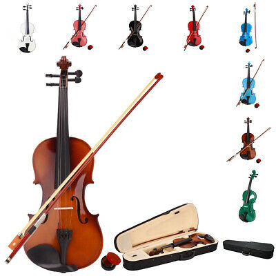 US New Acoustic Violin 4/4 Full Size with Case and Bow Rosin Natural Basswood
