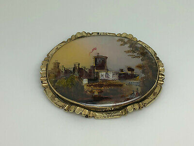 Antique Victorian Gilt Painted Foiled Italian Castle Scene Large Oval Brooch Pin