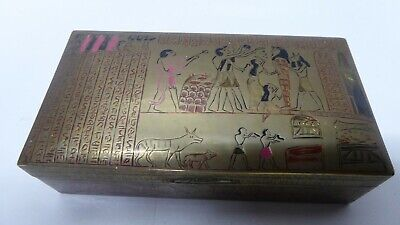 Vintage Egyptian Motif Enamel Engraved Brass Cigar Box Cedar Lined Casket