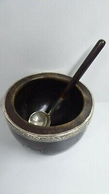 Antique Lacquered Oak Timber Sterling Silver Rim Salt Dish And Spoon 950