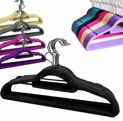 Coat Clothes Hangers Velvet Flocked Non Slip Curved Trousers Dresses Slim 10PK