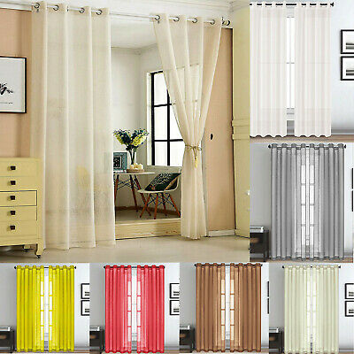 90'' Inch Plain Voile Lucy Eyelet Curtain Ring Top Net Panel Room Size All Color