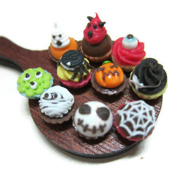 10 Miniatures Mix Halloween Cupcakes Dollhouse Miniatures Food Bakery