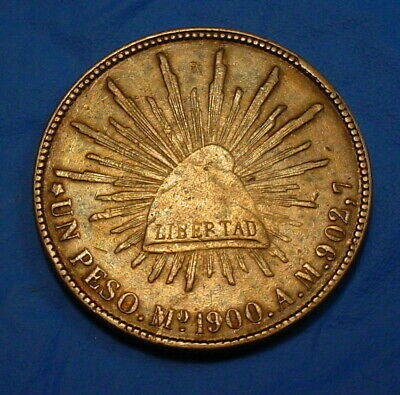 1900-Mo Am Mexico Peso - Silver Crown - Blue & Gold Toning - Nice -#Bl-107