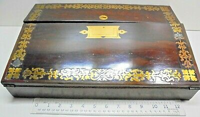 Antique Victorian Quality Brass Inlaid Writing Slope Box Lap Desk A/F For Repair