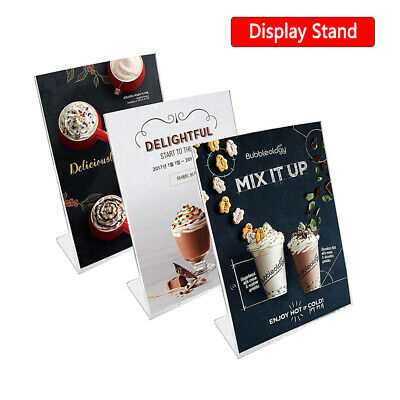 L Type Acrylic Menu Holder Perspex Poster Leaflet Sign Display Stands A6 A5 A4