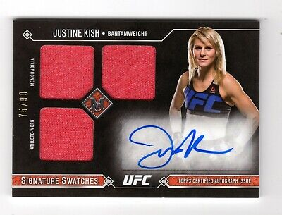 Justin Kish2017 Topps Ufc Museum Collection Signature Swatches Triple Relic