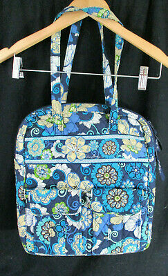 Vera Bradley Navy Blue Floral Tote Bucket Bag 3 Outside Pockets Zipper Closure