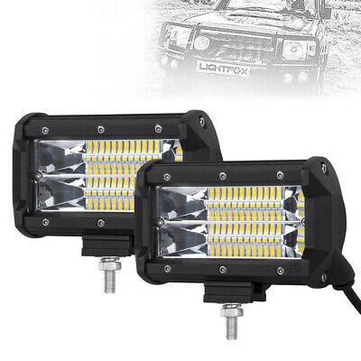 """2x 5""""INCH 144W LED Work Light Bar Spot Pods Driving OffRoad Tractor 4WD ATV 12V"""