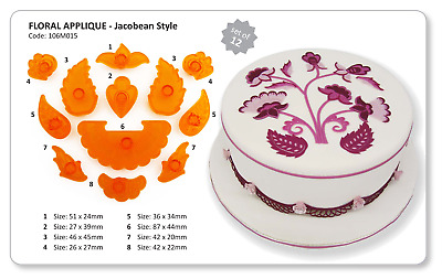 JEM FLORAL APPLIQUE JACOBEAN STYLE Flower Border Design Cutters Sugarcraft Cake