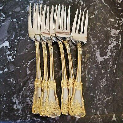 Royal Albert Old Country Roses 6 Dessert Forks Glossy Stainless Gold Accents