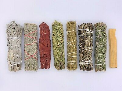 8X Sage Smudge Stick Kit: White, Blue, Dragons Blood, Cedar, Palo Santo, Rose...