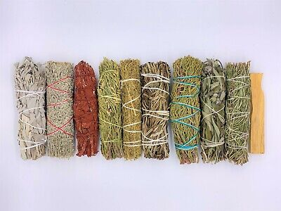 10X Sage Smudge Stick Kit: White, Blue, Dragons Blood, Cedar, Lavender, Palo Sa.