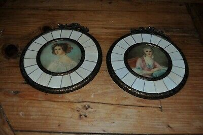 Pair of Antique French Miniature Hand Painted Portraits Sorquainville  Remusat