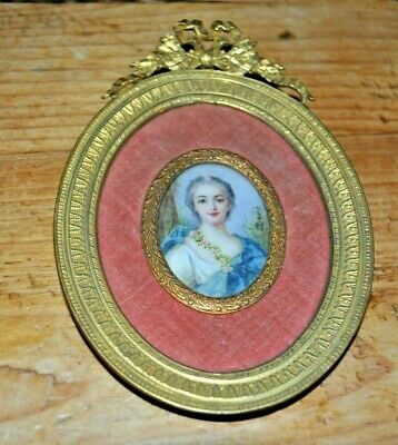ANTIQUE FRENCH MINIATURE PAINTING End of the 19th century s. David Bronze Frame