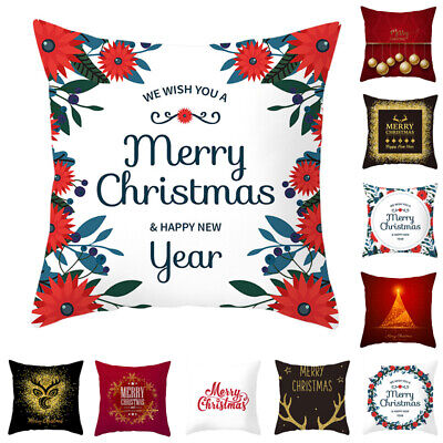 18'' Red Christmas Cushion Cover Throw Pillow Case Protectors Home Decorations