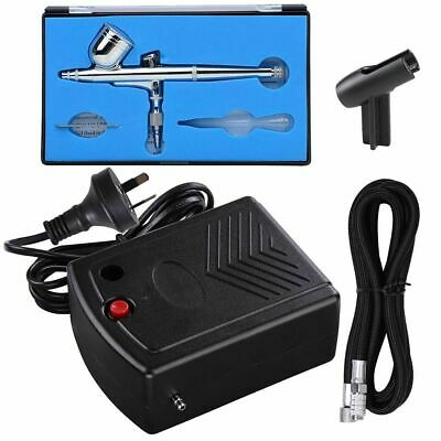 Mini Compressor Kit Dual Action Airbrush Air Brush Spray Gun 7cc Nail Art 0.3mm