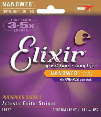 1 Sets Elixir 16027 Nanoweb Phosphor Bronze Custom Light Guitar Strings 11-52