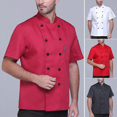 Men Short Sleeve T-shirt Solid Plus Size Tops Vest Buttons Shirts Chef Cook Coat
