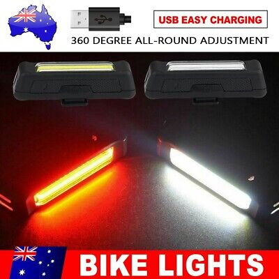 Bike Light USB Rechargeable Set LED Front headlight rear Bar Tail Wide Beam lamp